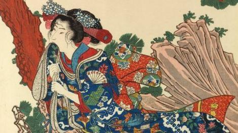 歌川国芳「松裏佐用姫」『賢女烈婦傳』より。大英博物館。一部。